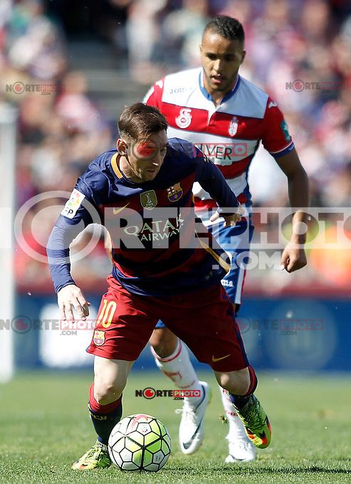 Granada's Youssef El Arabi (r) and FC Barcelona's Leo Messi during La Liga match. May 14,2016. (ALTERPHOTOS/Acero) /NortePhoto.com