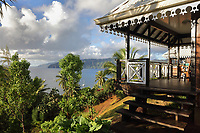 Verandah of a guesthouse in Temetiu village, looking over Atuona Bay, on the island of Hiva Oa, in the Marquesas Islands, French Polynesia. Picture by Manuel Cohen