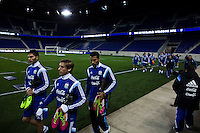 Members of the Argentina soccer team arrive for a practice at Red Bull stadium ahead of his friendly match against Ecuador in New Jersey, Nov 13, 2013. VIEWpress/Eduardo Munoz Alvarez