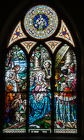 A stained glass image of the Nativity from a window at Immaculate Conception Church in Luxemburg, Wis. (Sam Lucero photo)