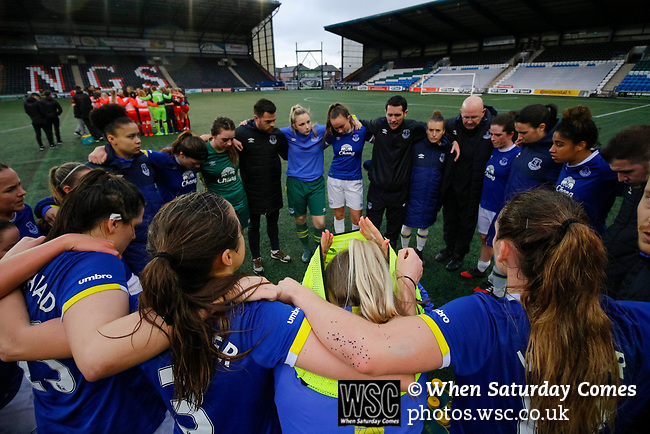 Liverpool Ladies 2 Everton Ladies 1, 19/03/2017. Select Security Stadium, SSE FA Cup Fifth Round. Everton's Manager Andy Spence talks to dejected Everton players after the game between Liverpool Ladies v Everton Ladies at The Select Security Stadium, Widnes, in the Women's SSE FA Cup Fifth Round. Photo by Paul Thompson.