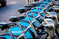Boris Bikes or Barclays Cycle Hire Scheme, London, Britain - 06-09-2013.