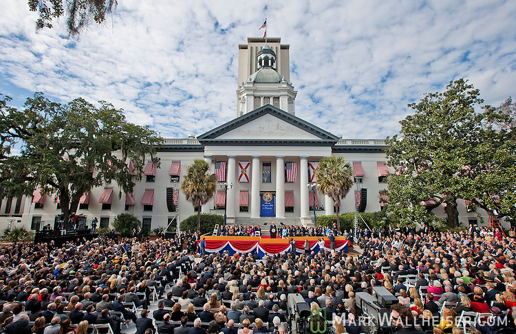 New Florida Governor Rick Scott delivers his address after being  sworn in as Florida's 45th governor at the Florida Capitol in Tallahassee, Florida January 4, 2011.  .
