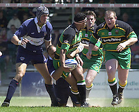 Sport , Rugby, Zurich Championship, 01/06/2002, Bristol v Northampton, Andrew Blowers, tackled by Emiliano Bergamaschi, look's to pass the ball.    [Mandatory Credit, Peter Spurier/ Intersport Images].
