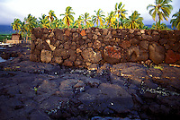 Stone wall of Pa Hula (Hula Platform) at Puu Honua O Honaunau National Historic Park (City of Refuge), in Kona, Hawaii.