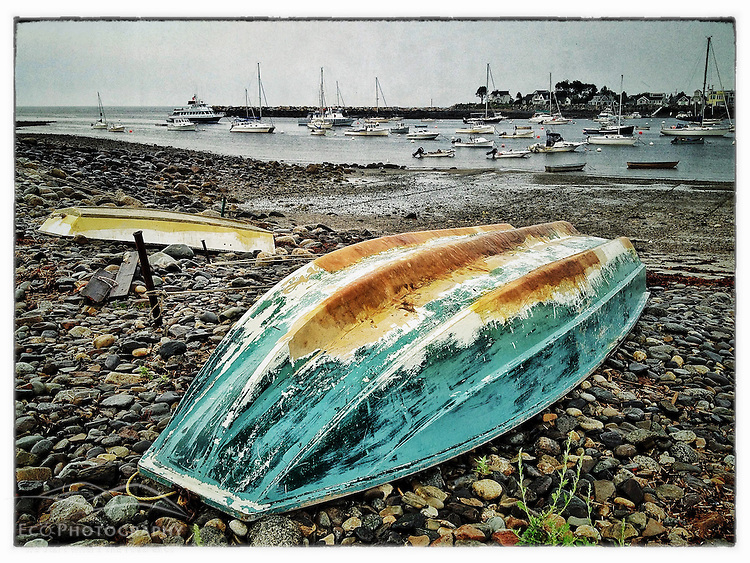 Skiffs on the shore in Rye Harbor, Rye, New Hampshire. iPhone photo - suitable for print reproduction up to *' x 12&quot;
