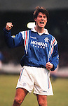 Brian Laudrup celebrates scoring for Rangers at East End Park, Dunfermline