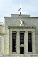 Jun 14, 2004; Washington DC, Washington, USA; Scenic exterior view of the Federal Reserve Board building along Constitution Avenue in Washington. American Flags are at half mast due to the recent passing of former president Ronald Reagan.