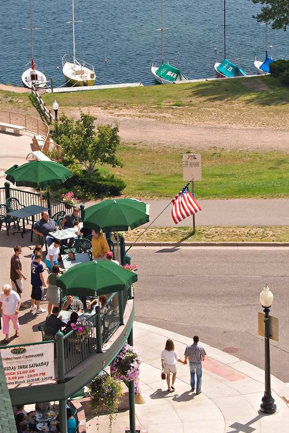 Restaurant and waterfront scene in downtown Marquette Michigan.