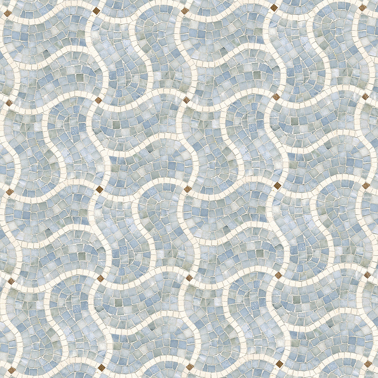 Curvaceous Crossroads, a hand cut natural stone mosaic, is shown in Ivory Cream, Celeste and Aegean Brown (polished).