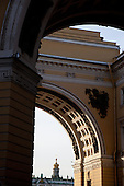 General Staff Arch.  in hermitage square, saint petersburg.///.place du palais , double arc de triomphe de la place de l hermitage