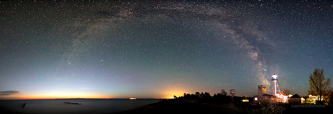 whitefish point, lighthouse, milky way, panorama,night sky, photo