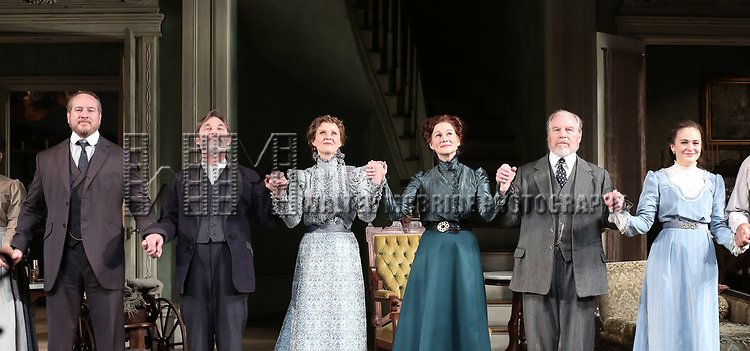 Darren Goldstein, Richard Thomas, Cynthia Nixon, Laura Linney, Michael McKean and Francesca Carpanini during the Broadway Opening Night Curtain Call bows for 'The Little Foxes' at Samuel J. Friedman Theatre on April 19, 2017 in New York City.