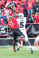 College Park, MD - OCT 1, 2016: Maryland Terrapins defensive back Alvin Hill (27) knocks down a pass intended for Purdue Boilermakers wide receiver Domonique Young (5) during game between Maryland and Purdue at Capital One Field at Maryland Stadium in College Park, MD. The Terps got the win 50-7 over visiting Purdue. (Photo by Phil Peters/Media Images International)