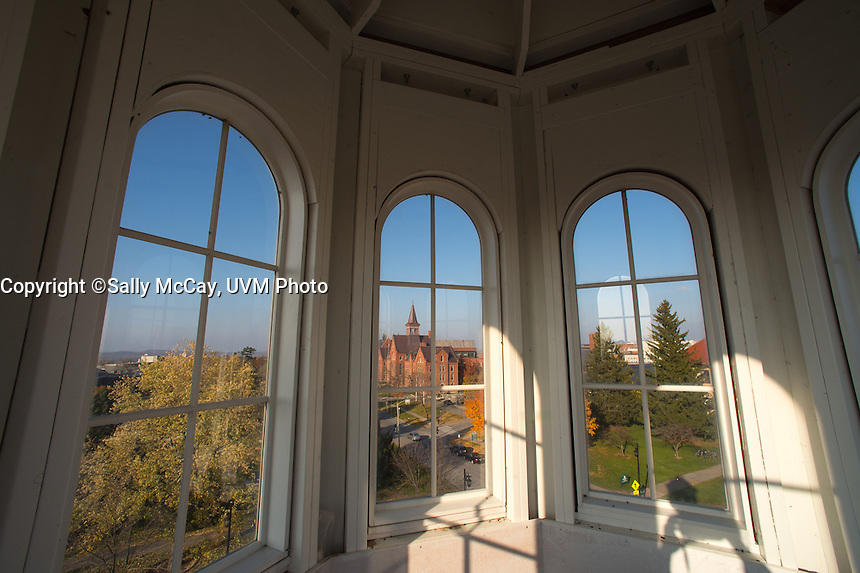 View of Old Mill through the windows of Pomeroy Hall, Main Street, Fall UVM Campus