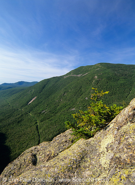 Crawford Notch from Mount Willard in the White Mountain National Forest in New Hampshire. Mount Willey can be seen on the right. The Maine Central Railroad can been seen.