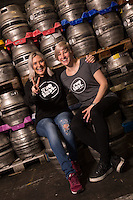 Two Birds Brewery of Australia owners Danielle Allen (left) and Jayne Lewis at Everards Brewery in Leicester, England