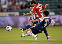 Chivas USA forward Giancarlo Maldonado (20) scores his first goal as goat. USA Chivas USA defeated Pachuca FC 1-0 during 2010 SuperLiga group play at Home Depot Center stadium in Carson, California Wednesday July 21, 2010.