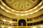 People looked out on the renovated seats, boxes and ceiling of The Bolshoi Theatre which has been undergoing major renovations since 2005 and is set to reopen on October 28, 2011. Moscow, Russia, July 22, 2011