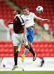 St Johnstone v Hearts...03.08.14  Steven Anderson Testimonial<br /> Osman Sow and Tasm Scobbie<br /> Picture by Graeme Hart.<br /> Copyright Perthshire Picture Agency<br /> Tel: 01738 623350  Mobile: 07990 594431