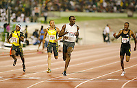 Usain Bolt winning the 100m in a World Leading time of 9.76sec. at the Jamaica International Meet on Saturday, May 3rd. 2008. Photo by Errol Anderson, The Sporting Image.