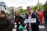 Occupy Wall Street protesters, students and supporters rally in Union Square Park in New York on Wednesday, April 25, 2012, the day that student loan debt is expected to reach $1 trillion. The protest, part of the 1T Day movement, proposes that the government should cover higher education costs, loans, if necessary, to be made at zero interest, colleges open their books and a one-time debt forgiveness.   (© Richard B. Levine)
