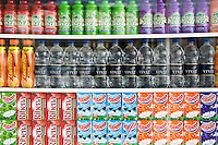 Soft drinks for sale on Brighton beach resort, South Coast of England, United Kingdom