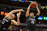 Dallas, TX - Friday March 31, 2017: Dijonai Carrington during the NCAA National Semifinal Game between the women's basketball teams of Stanford and South Carolina at the American Airlines Center.