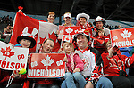 Some Team Canada fans cheer on their team during Sledge Hockey action at UBC Thunderbird Arena in Vancouver.