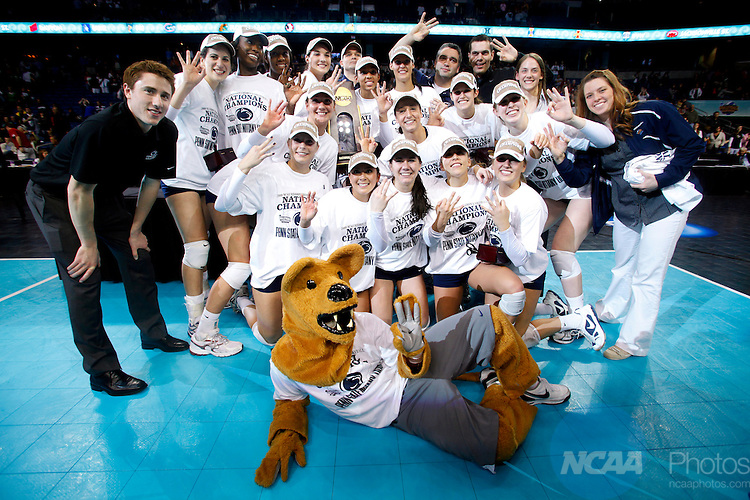 19 DEC 2009:  Penn State University celebrates their victory over the University of Texas during the Division I Women's Volleyball Championship held at the St. Pete Times Forum in Tampa, FL.  Penn State defeated Texas 3-2 for the national title.  Jamie Schwaberow/NCAA Photos