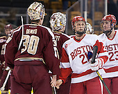 Thatcher Demko (BC - 30), Brian Billett (BC - 1), Matt Lane (BU - 21), Dalton MacAfee (BU - 23) - The Boston College Eagles defeated the Boston University Terriers 3-1 (EN) in their opening round game of the 2014 Beanpot on Monday, February 3, 2014, at TD Garden in Boston, Massachusetts.