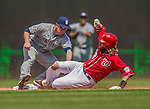26 April 2014: Washington Nationals right fielder Jayson Werth slides into second as Jedd Gyorko attempts the tag on an overturned review play in the 5th inning against the San Diego Padres at Nationals Park in Washington, DC. The Nationals shut out the Padres 4-0 to take the third game of their 4-game series. Mandatory Credit: Ed Wolfstein Photo *** RAW (NEF) Image File Available ***