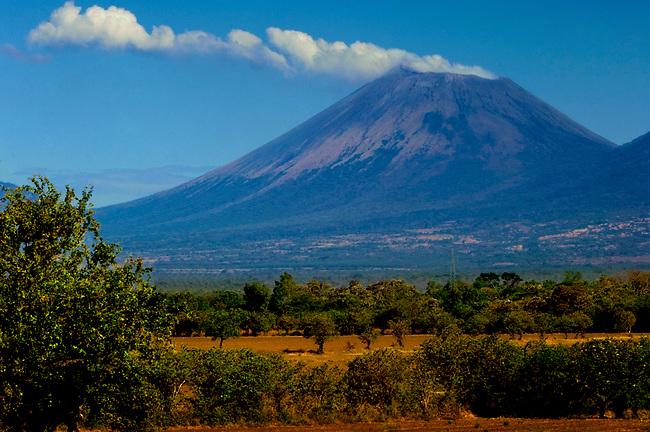 The San Cristobal Volcano, Nicaragua's tallest active volcano, creates a steady stream of smoke.
