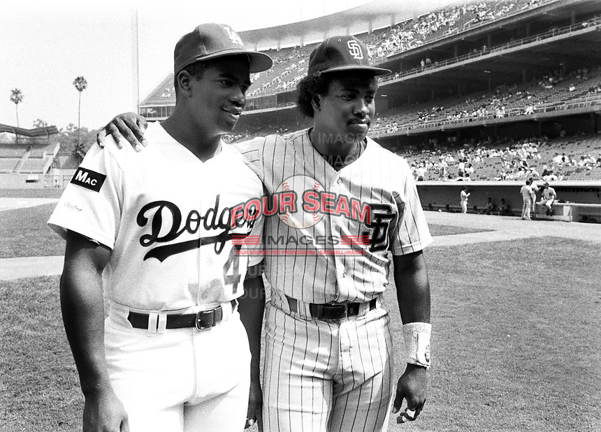 Los Angeles Dodgers outfielder Chris Gwynn and brother, San Diego Padres outfielder Tony Gwynn, at Dodger Stadium during the 1987 season in Los Angeles,California.(Larry Goren/Four Seam Images)