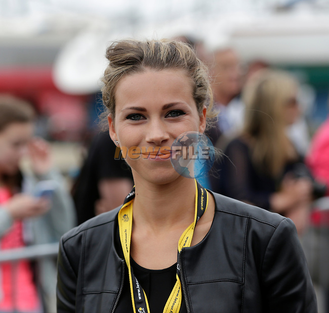Podium girl Marion Rousse married to Tony Gallopin (FRA) at sign on before the start of Stage 3 of the 2016 Tour de France, running 223.5km from Granville to Angers, France . 4th July 2016.<br /> Picture: Eoin Clarke | Newsfile<br /> <br /> <br /> All photos usage must carry mandatory copyright credit (&copy; Newsfile | Eoin Clarke)