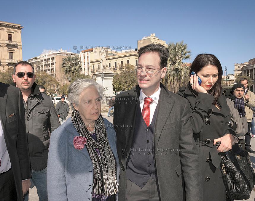 Rita Borsellino con Bersani e Giuseppe Lupo a Palermo per la campagna per le primarie.