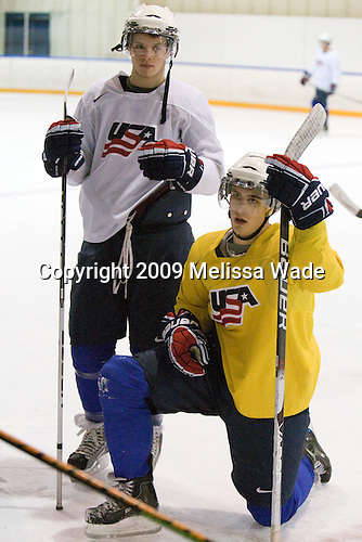 John Carlson (USA - 11), Chris Kreider (USA - 20) - Team USA practiced at the Agriplace rink on Monday, December 28, 2009, in Saskatoon, Saskatchewan, during the 2010 World Juniors tournament.