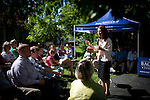 """GOP Presidential candidate Rep. Michele Bachmann speaks at a """"Backyard Chat"""" in Norwalk, Iowa, July 20, 2011."""
