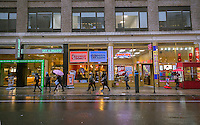 Fast food and other lunch establishments in Midtown Manhattan in New York on Saturday, February 23, 2013. (© Richard B. Levine)