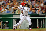 11 July 2008: Washington Nationals' infielder Ronnie Belliard hits his 100th career home run in the fifth inning against the Houston Astros at Nationals Park in Washington, DC. The Nationals shut out the Astros 10-0 in the first game of their 3-game series...Mandatory Photo Credit: Ed Wolfstein Photo