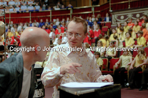 Buckinghamshire Schools Concert rehearsal at the Royal Albert Hall, London, with percussion group, Three Strange Angels.