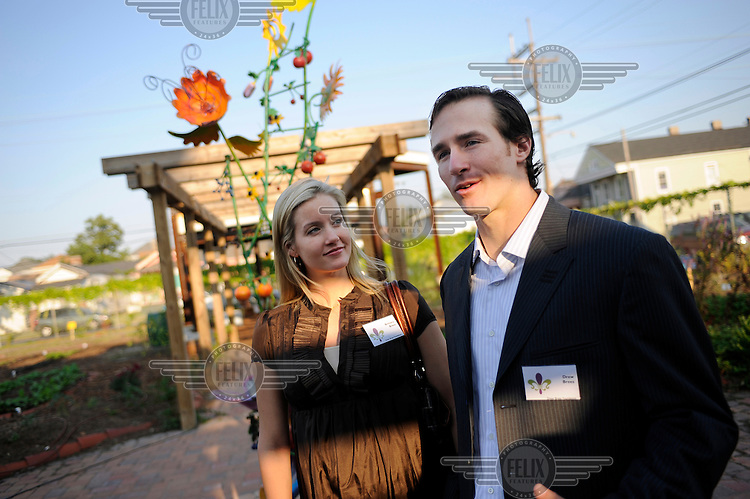 Drew Brees, quarterback for the New Orleans Saints, and his wife Britney at the opening of 'The Edible Schoolyard', a project that turns schoolyards into organic vegetable gardens that is supported by their foundation, the Brees Dream Foundation. Post Hurricane Katrina, players from the city's American Football team were extremely generous in donating to regenerate damaged areas of the city.