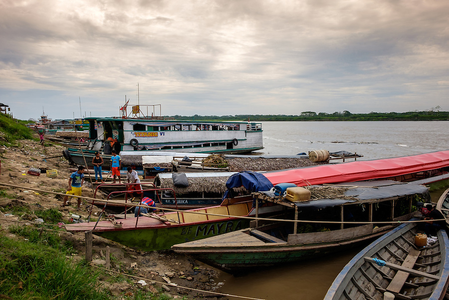 NAUTA, PERU - CIRCA OCTOBER 2015:  Boats in the port of Nauta in the Peruvian Amazon.