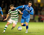 St Johnstone v Celtic...18.12.11   SPL .Marcus Haber and James Forrest.Picture by Graeme Hart..Copyright Perthshire Picture Agency.Tel: 01738 623350  Mobile: 07990 594431