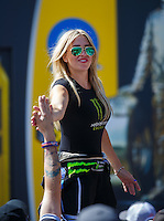 Jul 24, 2016; Morrison, CO, USA; NHRA top fuel driver Brittany Force during the Mile High Nationals at Bandimere Speedway. Mandatory Credit: Mark J. Rebilas-USA TODAY Sports