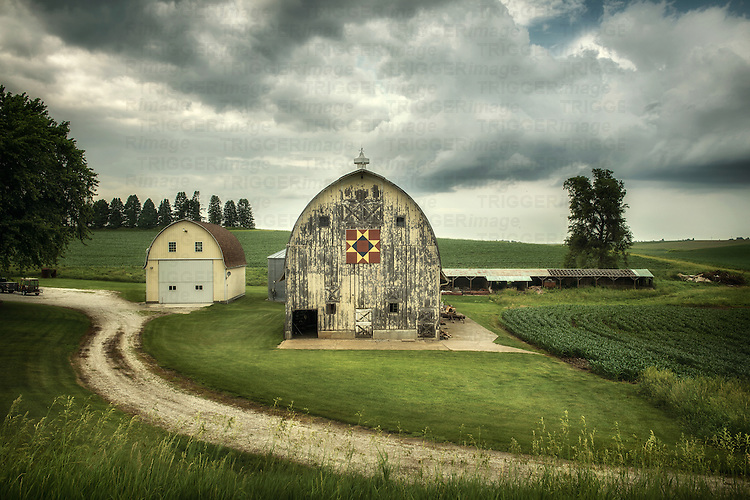Old barns on farmland in America
