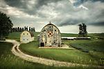 Old barns on farmland in America