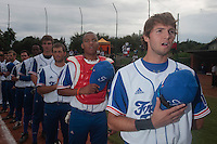 18 August 2010: Jonathan Dechelle of Team France stands during the national anthem during the France 7-3 win over Ukraine, at the 2010 European Championship, under 21, in Brno, Czech Republic.