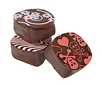 3 gourmet chocolate truffles with printing