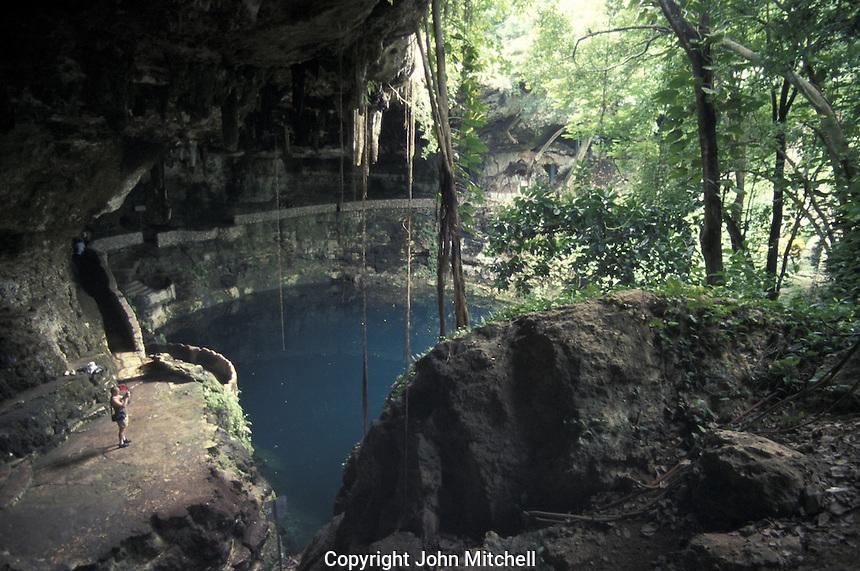 The Cenote Zaci near the town of Valladolid, Yucatan, Mexico
